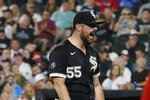 Chicago White Sox starting pitcher Carlos Rodon yells after striking out Boston Red Sox's Enrique Hernandez during the third inning of a baseball game Friday, Sept. 10, 2021, in Chicago. (AP Photo/David Banks)