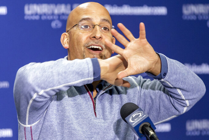 FILE  - In this Feb. 5, 2020, file photo, Penn State head coach James Franklin speaks during an NCAA college football news conference, in State College, Pa. It hasn't been an ideal time for No. 9 Penn State to install a new offense, but the Nittany Lions believe they have the pieces in place to be one of the better teams in the country.  (Joe Hermitt/The Patriot-News via AP, File)