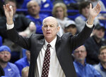 Mississippi State head coach Ben Howland directs his team during the first half of an NCAA college basketball game against Kentucky in Lexington, Ky., Tuesday, Jan. 22, 2019. (AP Photo/James Crisp)