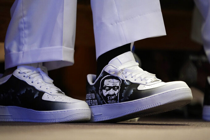 Philonise Floyd, the brother of George Floyd attends the funeral service for Floyd at The Fountain of Praise church Tuesday, June 9, 2020, in Houston. (AP Photo/David J. Phillip, Pool)