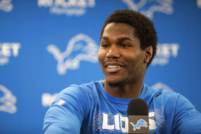 Detroit Lions running back Kerryon Johnson at a press conference on Thursday, May 2, 2019 in Allen Park, Mich. (Detroit Lions via AP)