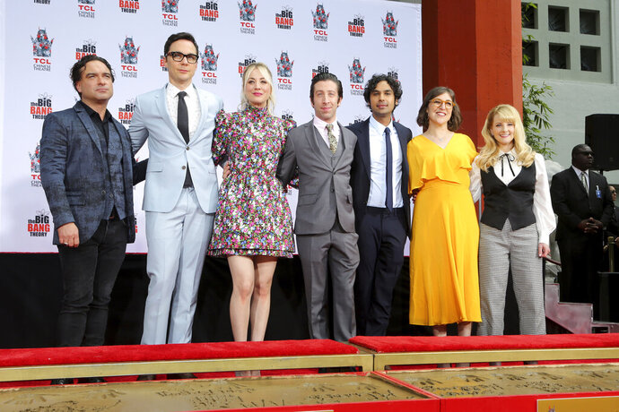 Johnny Galecki, from left, Jim Parsons, Kaley Cuoco, Simon Helberg, Kunal Nayyar, Mayim Bialik and Melissa Rauch, cast members of the TV series