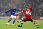 Leicester's Youri Tielemans, left, scores his side's second goal during the English Premier League soccer match between Southampton and Leicester City at St Mary's stadium in Southampton, England Friday, Oct., 25, 2019. (AP Photo/Alastair Grant)
