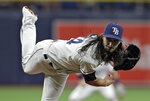 Tampa Bay Rays' Hunter Wood follows through on a pitch to the Los Angeles Dodgers during the first inning of a baseball game Tuesday, May 21, 2019, in St. Petersburg, Fla. (AP Photo/Chris O'Meara)
