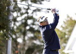 Brandt Jobe hits on the tenth hole during the second round of Dominion Energy Charity Classic golf tournament at The Country Club of Virginia in Richmond, Va., Saturday, Oct. 17, 2020. (Daniel Sangjib Min/Richmond Times-Dispatch via AP)
