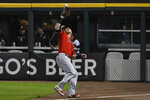 Los Angeles Angels right fielder Kole Calhoun catches a ball hit by Chicago White Sox's Yoan Moncada during the fifth inning of a baseball game Friday, Sept. 6, 2019, in Chicago. (AP Photo/Matt Marton)