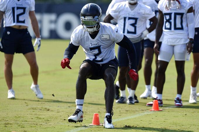 Tennessee Titans wide receiver Julio Jones (2) runs a drill during NFL football training camp Wednesday, July 28, 2021, in Nashville, Tenn. (AP Photo/Mark Zaleski)