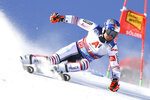 France's Alexis Pinturault speeds down the course during an alpine ski, men's World Cup giant slalom in Soelden, Austria, Sunday, Oct. 18, 2020. (AP Photo/Marco Trovati)