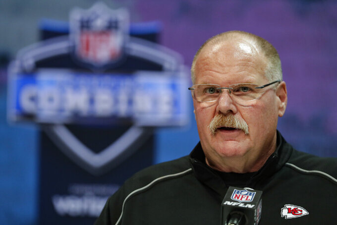 Kansas City Chiefs head coach Andy Reid speaks during a press conference at the NFL football scouting combine in Indianapolis, Tuesday, Feb. 25, 2020. (AP Photo/Michael Conroy)
