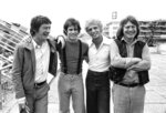 FILE - British actor John Hurt, from left, American actor Brad Davis, author Billy Hayes, and British director Alan Parker appear in Cannes, France for the screening of their film