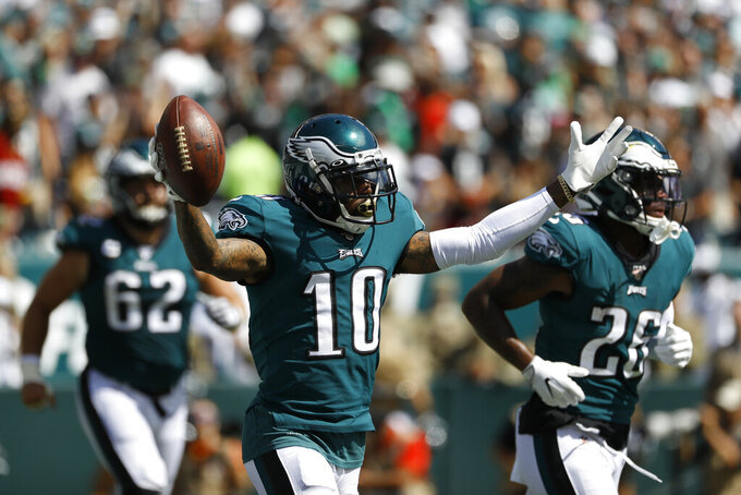 Philadelphia Eagles' DeSean Jackson celebrates after scoring touchdown during the first half of an NFL football game against the Washington Redskins, Sunday, Sept. 8, 2019, in Philadelphia. (AP Photo/Michael Perez)