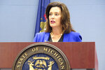 Gov. Gretchen Whitmer speaks at a news conference on Wednesday, Aug. 28, 2019, at her office in Lansing, Mich. She is seeking to pressure Republican legislative leaders to propose a