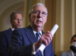 Senate Minority Leader Mitch McConnell, R-Ky., joined by Senate Minority Whip John Thune, R-S.D., speaks to reporters after a Republican policy meeting, at the Capitol in Washington, Tuesday, Sept. 28, 2021. (AP Photo/J. Scott Applewhite)