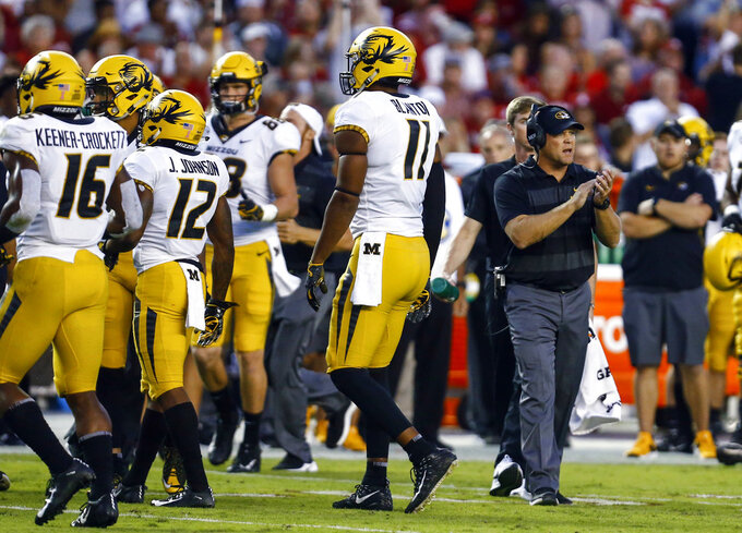 Missouri head coach Barry Odom reacts as the players walk off the field during the first half of an NCAA college football game against Alabama, Saturday, Oct. 13, 2018, in Tuscaloosa, Ala. (AP Photo/Butch Dill)