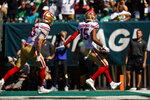 San Francisco 49ers wide receiver Jauan Jennings (15) scores a touchdown during the first half of an NFL football game against against the Philadelphia Eagles on the San Francisco 49ers on Sunday, Sept. 19, 2021, in Philadelphia. (AP Photo/Matt Rourke)