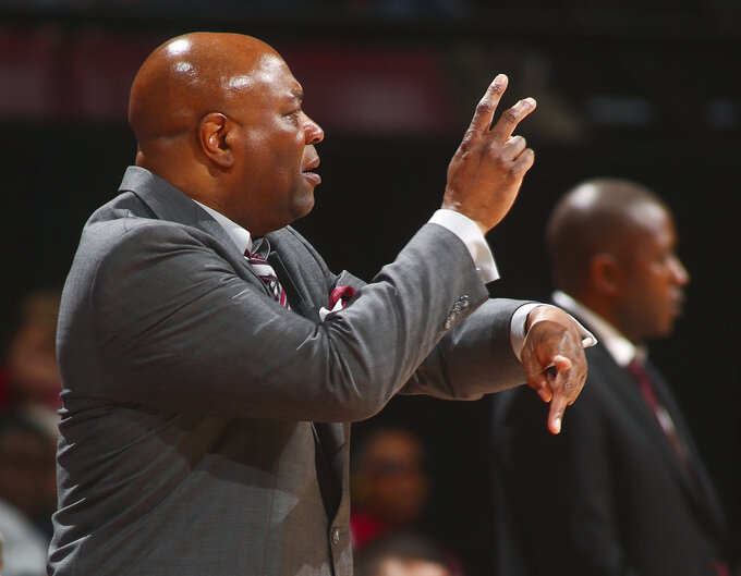 Florida State head coach Leonard Hamilton calls a play in the second half of an NCAA college basketball game against Winthrop in Tallahassee, Fla., Tuesday, Jan. 1, 2019. Florida State won 87-76. (AP Photo/Phil Sears)