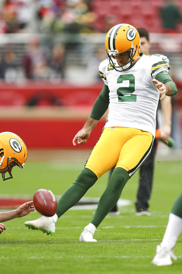 Green Bay Packers kicker Mason Crosby (2) kicks a field goal during warm-ups in the NFL NFC Championship football game against the San Francisco 49ers, Sunday, Jan. 19, 2020 in Santa Clara, Calif. The 49ers defeated the Packers 37-20. (Margaret Bowles via AP)