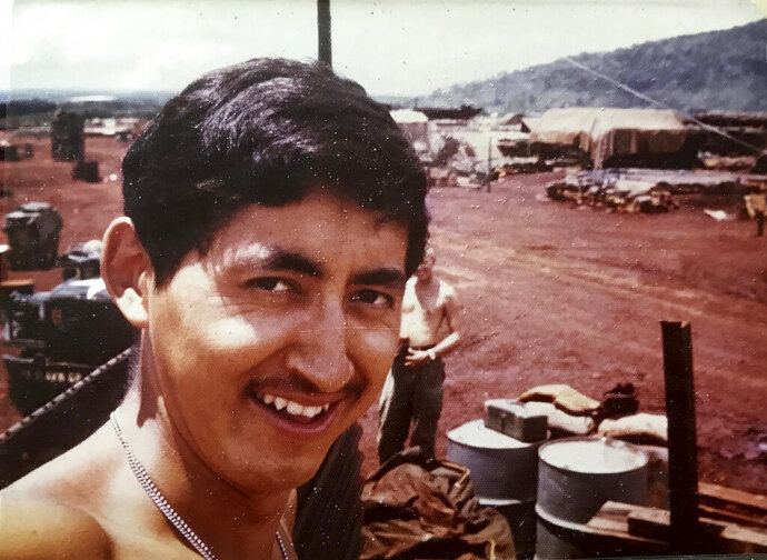 This undated photo shows Stewy Carlo during his Army service days during the Vietnam War. Carlo died in a car accident in 1975, but his family will apply for an allotment of 160 acres of government-owned land in Alaska under a new program that will allow Alaska Native Vietnam veterans or their heirs to apply for land that they might have missed out on in earlier programs because of their service. (Photo provided by Seeyaa Charpentier via AP)