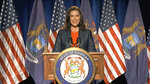 In this image from video, Michigan Gov. Gretchen Whitmer speaks during the first night of the Democratic National Convention on Monday, Aug. 17, 2020. (Democratic National Convention via AP)