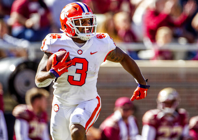 FILE - In this Oct. 27, 2018, file photo, Clemson wide receiver Amari Rodgers runs after a reception in the second half of an NCAA college football game against Florida State in Tallahassee, Fla. There's little question where No. 2 Clemson has a clear edge on Notre Dame: It's playoff experience. The undefeated Tigers are in their fourth straight College Football Playoff while the unbeaten Fighting Irish are in the final four for the first time. (AP Photo/Mark Wallheiser, File)