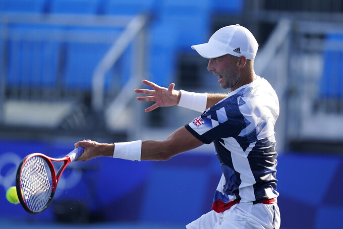 Liam Broady, of Britain, plays against Jeremy Chardy, of France, during the third round of the tennis competition at the 2020 Summer Olympics, Wednesday, July 28, 2021, in Tokyo, Japan. (AP Photo/Seth Wenig)
