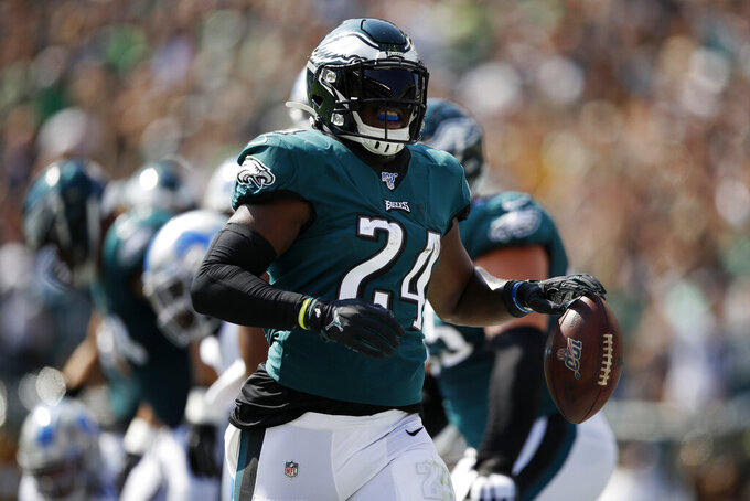 Philadelphia Eagles' Jordan Howard runs in a touchdown during the first half of an NFL football game against the Detroit Lions, Sunday, Sept. 22, 2019, in Philadelphia. (AP Photo/Matt Rourke)