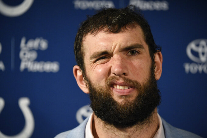 Indianapolis Colts quarterback Andrew Luck talks with the media following an NFL wild card playoff football game against the Houston Texans, Saturday, Jan. 5, 2019, in Houston. (AP Photo/Eric Christian Smith)