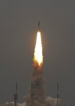 Indian Space Research Organization (ISRO)'s Geosynchronous Satellite launch Vehicle (GSLV) MkIII carrying Chandrayaan-2 lifts off from Satish Dhawan Space center in Sriharikota, India, Monday, July 22, 2019.  India successfully launched an unmanned spacecraft to the far side of the moon on Monday, a week after aborting the mission due to a technical problem. (AP Photo)
