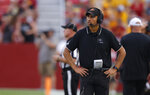 Iowa State head coach Matt Campbell paces the sidelines during the second half of an NCAA college football game against Iowa, Saturday, Sept. 11, 2021, in Ames, Iowa. Iowa won 27-17. (AP Photo/Matthew Putney)