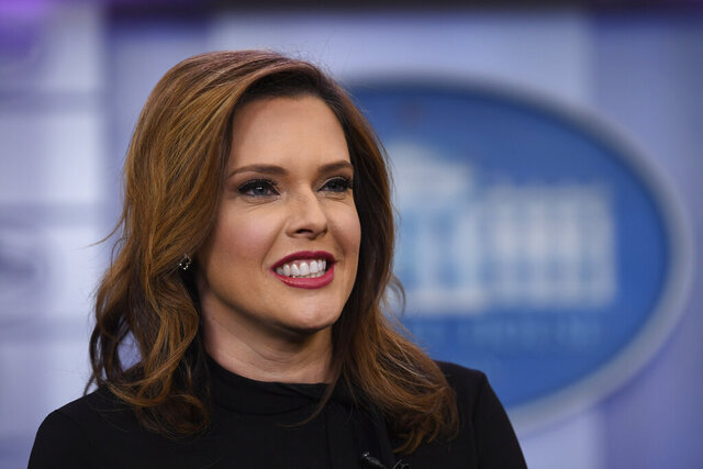 "FILE - IN this Jan. 29, 2019 file photo, Communications adviser Mercedes Schlapp speaks during a television interview in the press briefing at the White House in Washington. President Donald Trump's reelection campaign is ramping up its courtship of Catholic voters ahead of a likely November matchup against a devout Catholic Democrat, former Vice President Joe Biden. The campaign previewed its message at a Thursday, April 2, 2020  launch of a ""Catholics for Trump"" coalition, touting the president's religious freedom record and anti-abortion policies.  (AP Photo/Susan Walsh, File)"