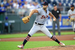 Detroit Tigers starting pitcher Daniel Norris delivers to a Kansas City Royals batter during the first inning of a baseball game at Kauffman Stadium in Kansas City, Mo., Tuesday, Sept. 3, 2019. (AP Photo/Orlin Wagner)