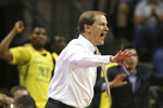 Oregon coach Dana Altman calls to his team during the first half of an NCAA college basketball game against Montana in Eugene, Ore., Wednesday, Dec. 18, 2019. (AP Photo/Chris Pietsch)