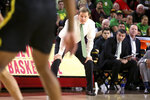 Oregon coach Dana Altman watches the team of defense against Arizona State during the second half of an NCAA college basketball game Thursday, Feb. 20, 2020, in Tempe, Ariz. (AP Photo/Darryl Webb)