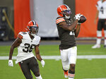 Cleveland Browns wide receiver Donovan Peoples-Jones catches a pass over cornerback A.J. Green during an NFL football scrimmage at FirstEnergy Stadium in Cleveland, Friday, Sept. 4, 2020. (Joshua Gunter/Cleveland.com via AP)
