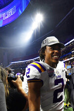 LSU wide receiver Justin Jefferson leaves the field after the Peach Bowl NCAA semifinal college football playoff game against Oklahoma, Saturday, Dec. 28, 2019, in Atlanta. LSU won 63-28. (AP Photo/John Amis)