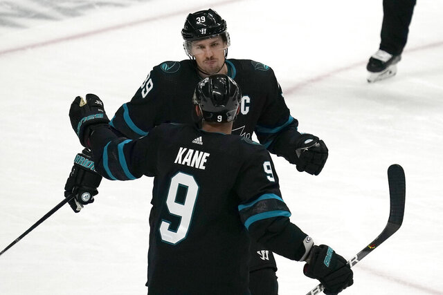 San Jose Sharks center Logan Couture (39) celebrates with Evander Kane (9) after scoring in overtime against the New Jersey Devils in an NHL hockey game Thursday, Feb. 27, 2020, in San Jose, Calif. San Jose won 3-2. (AP Photo/Tony Avelar)