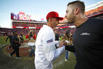 San Francisco 49ers head coach Kyle Shanahan, left, greets Arizona Cardinals head coach Kliff Kingsbury after an NFL football game in Santa Clara, Calif., Sunday, Nov. 17, 2019. (AP Photo/Josie Lepe)