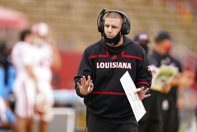 Louisiana-Lafayette head coach Billy Napier directs his team from the sideline during the second half of an NCAA college football game against Iowa State, Saturday, Sept. 12, 2020, in Ames, Iowa. Louisiana-Lafayette won 31-14. (AP Photo/Charlie Neibergall)