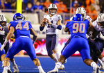 BYU quarterback Zach Wilson (11) looks for a receiver during the first half of an NCAA college football game against Boise State on Saturday, Nov. 3, 2018, in Boise, Idaho. (AP Photo/Steve Conner)