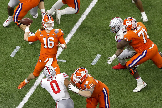 Clemson quarterback Trevor Lawrence passes against Ohio State during the first half of the Sugar Bowl NCAA college football game Friday, Jan. 1, 2021, in New Orleans. (AP Photo/Butch Dill)
