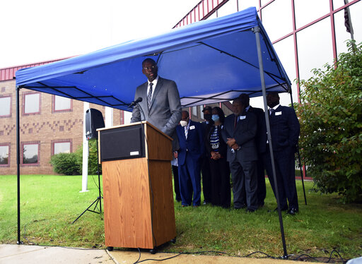 Michigan Lt. Gov. Garlin Gilchrist II talks about the response plan that has been put in place to deal with lead pipes and water quality for residents in Benton Harbor during a press conference Thursday, Oct. 14, 2021, at the Michigan Department of Health and Human Services Berrien County Office in Benton Harbor, Mich. (Don Campbell/The Herald-Palladium via AP)