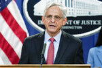 Attorney General Merrick Garland announces a lawsuit to block the enforcement of new Texas law that bans most abortions at the Justice Department in Washington, Thursday, Sept. 9, 2021. (AP Photo/J. Scott Applewhite)