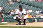 Detroit Tigers relief pitcher Shane Greene reacts after Miami Marlins' Garrett Cooper hit a grand slam in the ninth inning of a baseball game in Detroit, Thursday, May 23, 2019. Miami won 5-2. (AP Photo/Paul Sancya)