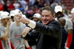 Texas Tech head coach Chris Beard celebrates after the team's win against Gonzaga during the West Regional final in the NCAA men's college basketball tournament Saturday, March 30, 2019, in Anaheim, Calif. Texas Tech won 75-69. (AP Photo/Marcio Jose Sanchez)