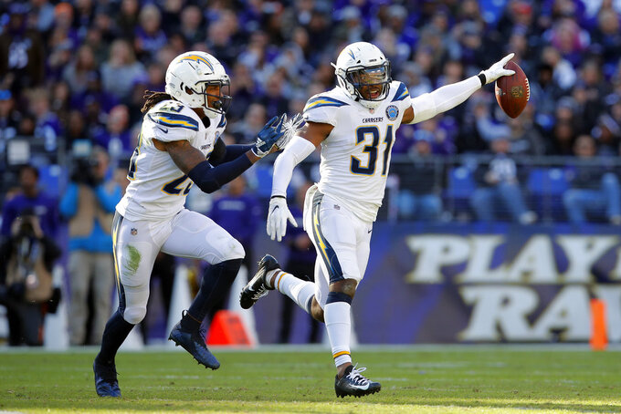 Los Angeles Chargers defensive back Adrian Phillips, right, celebrates with teammate Rayshawn Jenkins after intercepting a pass in the first half of an NFL wild card playoff football game against the Baltimore Ravens, Sunday, Jan. 6, 2019, in Baltimore. (AP Photo/Carolyn Kaster)
