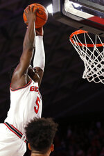 Georgia's Anthony Edwards (5) dunks against Arkansas during an NCAA college basketball game in Athens, Ga., Saturday, Feb. 29, 2020. (Joshua L. Jones/Athens Banner-Herald via AP)