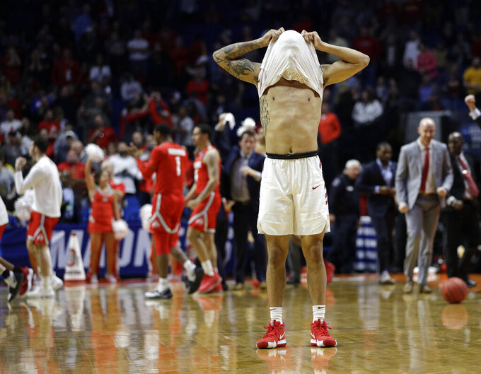 Iowa State's Nick Weiler-Babb reacts after Iowa State lost to Ohio State in their first round men's college basketball game in the NCAA Tournament Friday, March 22, 2019, in Tulsa, Okla. Ohio State won 62-59. (AP Photo/Charlie Riedel)
