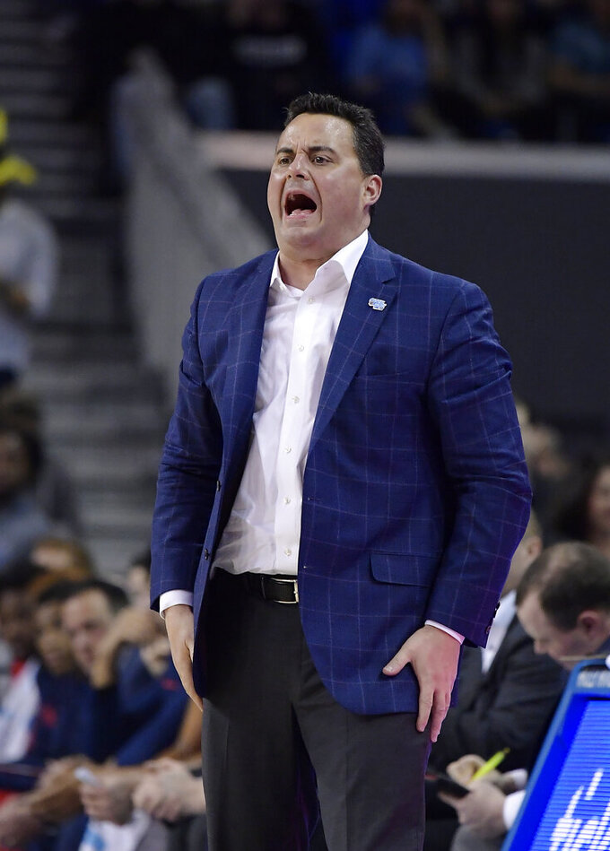 Arizona coach Sean Miller yells to his team during the second half of an NCAA college basketball game against UCLA on Saturday, Jan. 26, 2019, in Los Angeles. UCLA won 90-69. (AP Photo/Mark J. Terrill)