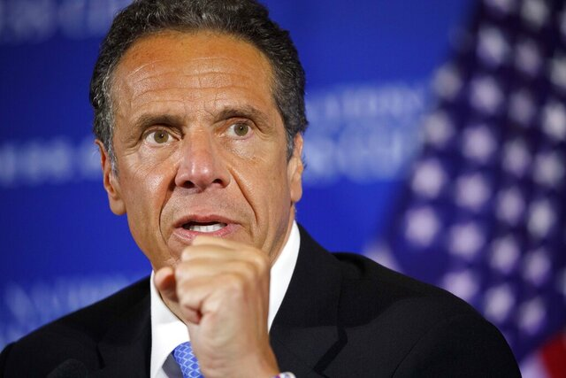 FILE - In this May 27, 2020, file photo, New York Gov. Andrew Cuomo speaks during a news conference at the National Press Club in Washington. Cuomo said on Saturday, June 18, 2020 that the number of people hospitalized with COVID-19 in New York state dropped to 743 and 11 more people had died. (AP Photo/Jacquelyn Martin, File)