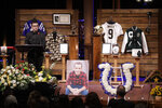 Trey Mock, the mascot Blue for the Indianapolis Colts, speaks during a funeral for Tyler Trent at College Park Church, Tuesday, Jan. 8, 2019, in Indianapolis. Trent, an avid Purdue fan, died on New Year's Day, following a bout with bone cancer. (AP Photo/Darron Cummings, Pool)